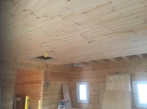 1階リビング天井。天井仕上げ材もフィンランドの木です。