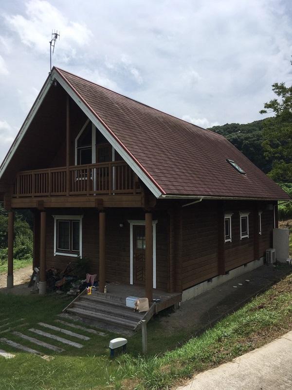 千葉県鋸南町 ログハウス メンテナンス 外部ドア1